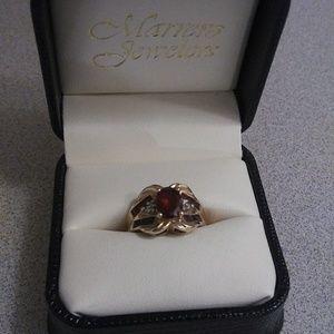 Gold 10k Vintage Art Nouveau Diamond & Ruby Ring 6